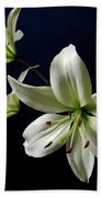 White Lilies On Blue Hand Towel