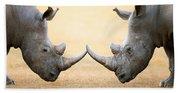 White Rhinoceros  Head To Head Bath Towel