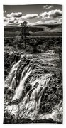 White River Falls Black  And White Bath Towel