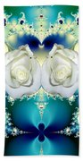 White Roses  And Blue Satin Bouquet Fractal Abstract Bath Towel