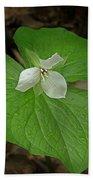 White Spring Trillium Bath Towel