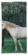 White Stallion In The Woods  Bath Towel
