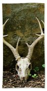 White-tailed Deer Skull In The Woods Bath Towel
