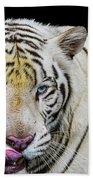 White Tiger Closeup Bath Towel