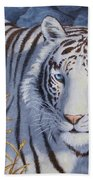 White Tiger - Crystal Eyes Bath Towel by Crista Forest