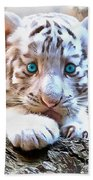 White Tiger Cub Bath Towel