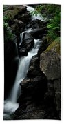 White Water Black Rocks Bath Towel