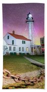 Whitefish Point Lighthouse   Northern Lights -0524 Bath Towel
