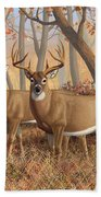 Whitetail Deer Painting - Fall Flame Bath Towel by Crista Forest