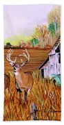 Whitetail Deer With Truck And Barn Bath Towel