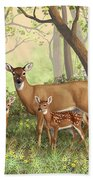 Whitetail Doe And Fawns - Mom's Little Spring Blossoms Hand Towel by Crista Forest