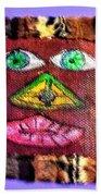 Wide Eyed Loup Garou Mardi Gras Screen Mask Bath Towel