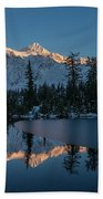 Wide Shuksans Last Light Reflected Bath Towel