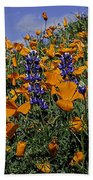 Wild California Poppies And Lupine Bath Towel
