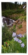 Wild Flowers And Waterfalls Bath Towel