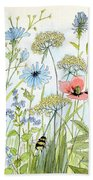 Wildflower And Bees Bath Towel