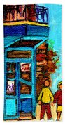 Wilensky's Lunch Counter With School Bus Montreal Street Scene Bath Towel