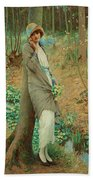 William Henry Margetson, Woman In A Spring Landscape. Bath Towel