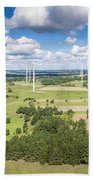 Wind Turbines In Suwalki. Poland. View From Above. Summer Time. Bath Towel