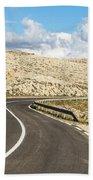 Winding Road On The Pag Island In Croatia Bath Towel