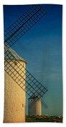 Windmills Under Blue Sky Bath Towel