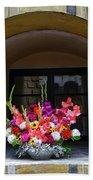 Window Sill Flower Arrangement At Cesky Krumlov Castle In The Czech Republic Hand Towel