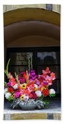Window Sill Flower Arrangement At Cesky Krumlov Castle In The Czech Republic Bath Towel
