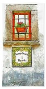 Window With Flower Pot Bath Towel