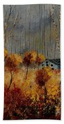 Windy Autumn Landscape  Bath Towel