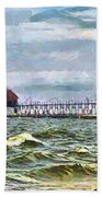 Windy Day At Grand Haven Lighthouse Bath Towel