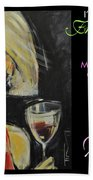 Wine For Lunch Poster Bath Towel