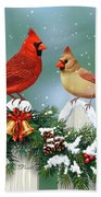 Winter Birds And Christmas Garland Bath Towel