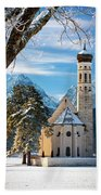 Winter Church In Bavaria Bath Towel