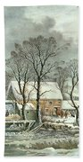 Winter In The Country - The Old Grist Mill Bath Towel