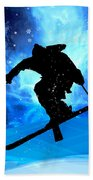 Winter Landscape And Freestyle Skier Bath Towel