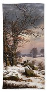 Winter Landscape. Near Vordingborg Bath Towel
