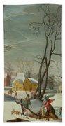 Winter Landscape Of A Village Hand Towel