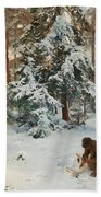 Winter Landscape With Hunters And Dogs Bath Towel