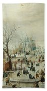 Winter Landscape With Ice Skaters1608 Bath Towel