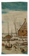 Winter Landscape With Skaters And A Farm House Bath Towel