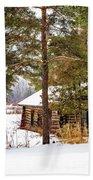 Winter Log Cabin 3 - Paint Bath Towel