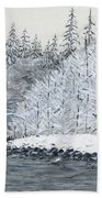 Winter On The River Bath Towel