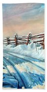 Winter Snow Tracks Bath Towel