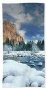 Winter Storm In Yosemite National Park Bath Towel