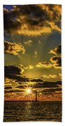 Winter Sunset At Muskegon Channel Light Bath Towel
