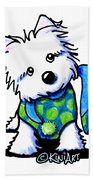 Winter Westie With Lime Bath Towel