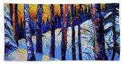 Winter Woodland Sunset Modern Impressionism Palette Knife Oil Painting Hand Towel