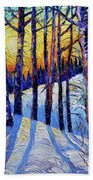Winter Woodland Sunset Modern Impressionism Palette Knife Oil Painting Bath Towel