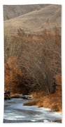 Winter Yakima River With Hills And Orchard Bath Towel