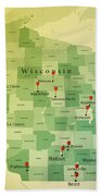 Wisconsin Map Square Cities Straight Pin Vintage Bath Towel